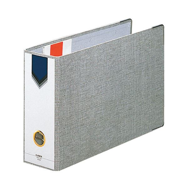 (まとめ) ライオン事務器 AZファイル A4ヨコ 2穴 470枚収容 背幅89mm グレー No.12 1冊 【×10セット】