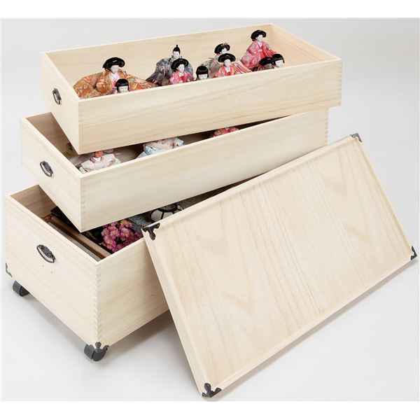 桐製 雛人形ケース/収納ボックス 【3段】 約42×82×70cm 木製 通気性 防湿性 キャスター付き アリ組み仕上げ NEW【代引不可】