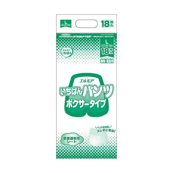 (まとめ)カミ商事 エルモア いちばん パンツボクサータイプ L 1パック(18枚)【×5セット】