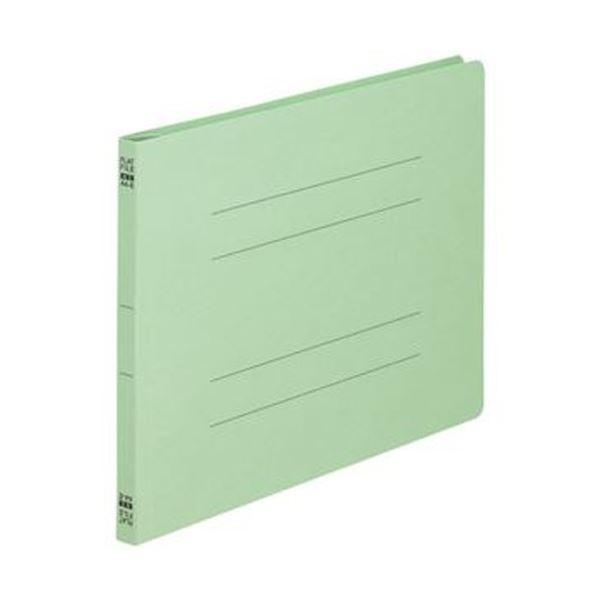 (まとめ)TANOSEE フラットファイル(ノンステープルタイプ)A4ヨコ 150枚収容 背幅18mm 緑 1セット(100冊:10冊×10パック)【×3セット】