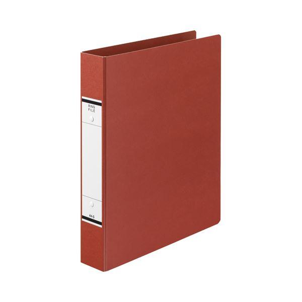 (まとめ) TANOSEE Oリングファイル(紙表紙) A4タテ 2穴 320枚収容 背幅52mm 赤 1セット(10冊) 【×5セット】