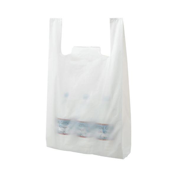 (まとめ) TANOSEE 乳白レジ袋 60号 ヨコ340×タテ590×マチ幅160mm 1パック(100枚) 【×10セット】