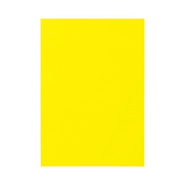 (まとめ) TANOSEE 色画用紙 八つ切 レモン 1パック(10枚) 【×50セット】