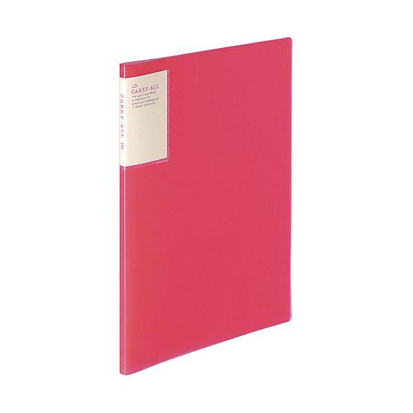 (まとめ)コクヨ クリヤーブック(キャリーオール)固定式・背ポケット A4タテ 10ポケット 背幅9mm ピンク ラ-5002P 1セット(6冊)【×5セット】