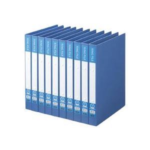 (まとめ) TANOSEE リングファイル(再生PP表紙) A4タテ 2穴 200枚収容 背幅30mm ブルー 1セット(10冊) 【×5セット】