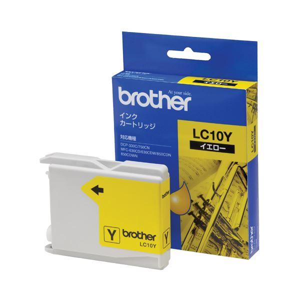 (まとめ) ブラザー BROTHER インクカートリッジ イエロー LC10Y 1個 【×10セット】