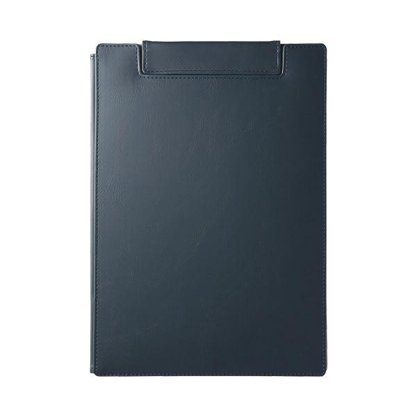 (まとめ)キングジム レザフェスUクリップボード(カバー付)A4 ネイビー 1932LU 1枚【×5セット】