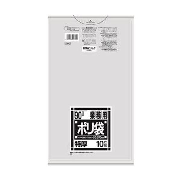 (まとめ)日本サニパック Lシリーズ 業務用ポリ袋 特厚 透明 90L L98G 1パック(10枚)【×20セット】