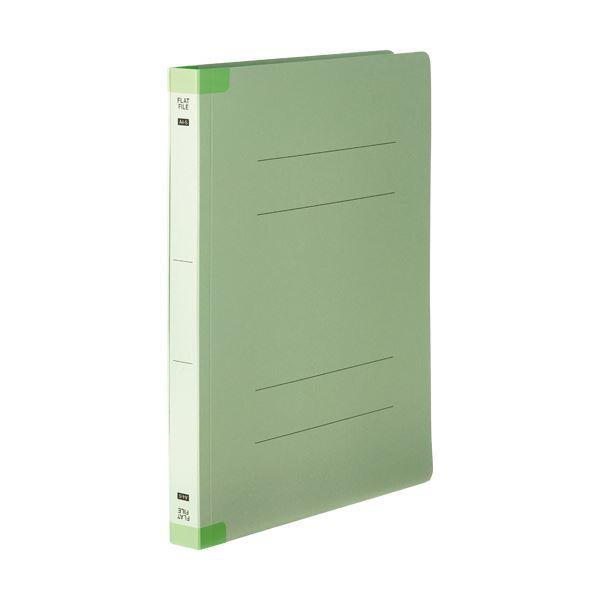 (まとめ)TANOSEEフラットファイル(背補強タイプ) 厚とじ A4タテ 250枚収容 背幅28mm グリーン1セット(100冊:10冊×10パック)【×3セット】