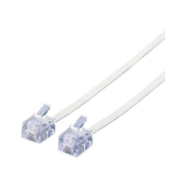 (まとめ) エレコム スリムモジュラケーブル6極4芯 ホワイト 3m MJ-3WH 1本 【×30セット】