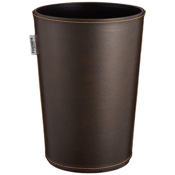 (まとめ) ゴミ箱/ダストボックス 【レザーS】 円形 ブラウン レザー調カバー ルクレールコレクション 【36個セット】