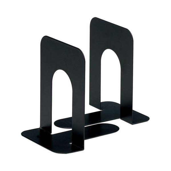 (まとめ) TANOSEE ブックエンド T型 中 ブラック 1組(2枚) 【×30セット】
