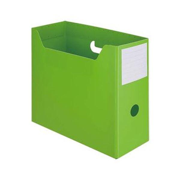 (まとめ)TANOSEE PP製ボックスファイル(組み立て式)A4ヨコ グリーン 1セット(10個)【×5セット】