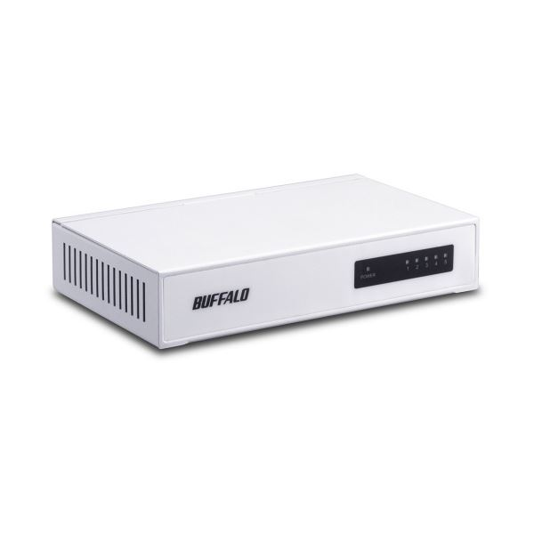 (まとめ) バッファロー 10/100M対応スイッチングハブ 金属筐体 電源内蔵 5ポート ホワイト LSW4-TX-5NS/WHD 1台 【×5セット】
