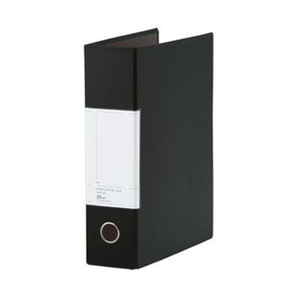 (まとめ)TANOSEE 両開きパイプ式ファイルSt A4タテ 500枚収容 50mmとじ 背幅77mm ブラック 1セット(10冊)【×3セット】