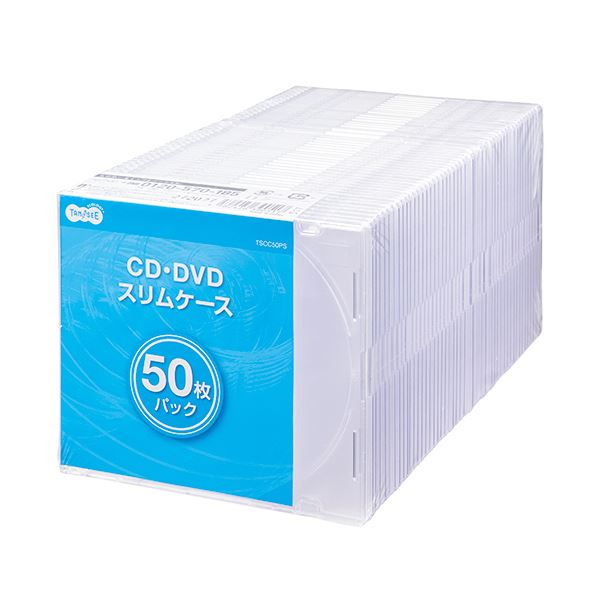 (まとめ) TANOSEE5mm厚スリムCDプラケース 1パック(50枚) 【×10セット】