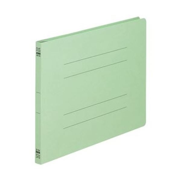 (まとめ)TANOSEE フラットファイル(ノンステープルタイプ)A4ヨコ 150枚収容 背幅18mm 緑 1パック(10冊)【×20セット】