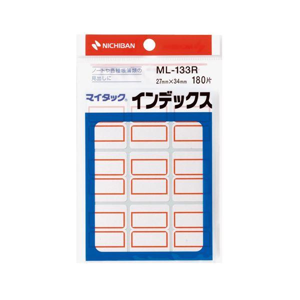 (まとめ) ニチバン マイタック インデックス 紙ラベル 大 27×34mm 赤枠 ML-133R 1パック(180片:9片×20シート) 【×50セット】