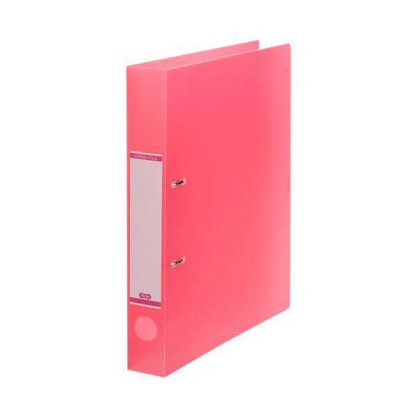(まとめ) TANOSEEDリングファイル(半透明表紙) A4タテ 2穴 250枚収容 背幅43mm ピンク 1セット(10冊) 【×10セット】