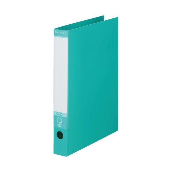TANOSEE ワンタッチ開閉Oリングファイル A4タテ 2穴 220枚収容 背幅40mm グリーン 1セット(30冊)