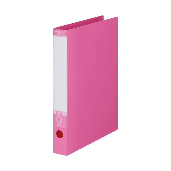 ピンク 1セット(30冊) 220枚収容 背幅40mm 2穴 TANOSEE A4タテ ワンタッチ開閉Oリングファイル
