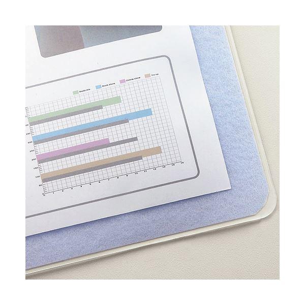 (まとめ)TANOSEE再生透明オレフィンデスクマット ダブル(下敷付) 600×450mm ライトブルー 1セット(5枚)【×3セット】