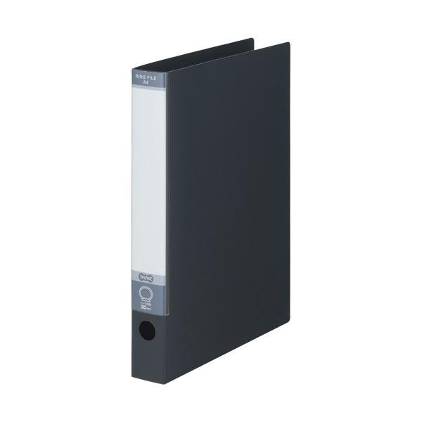 TANOSEE ワンタッチ開閉Oリングファイル A4タテ 2穴 220枚収容 背幅40mm ダークグレー 1セット(30冊)
