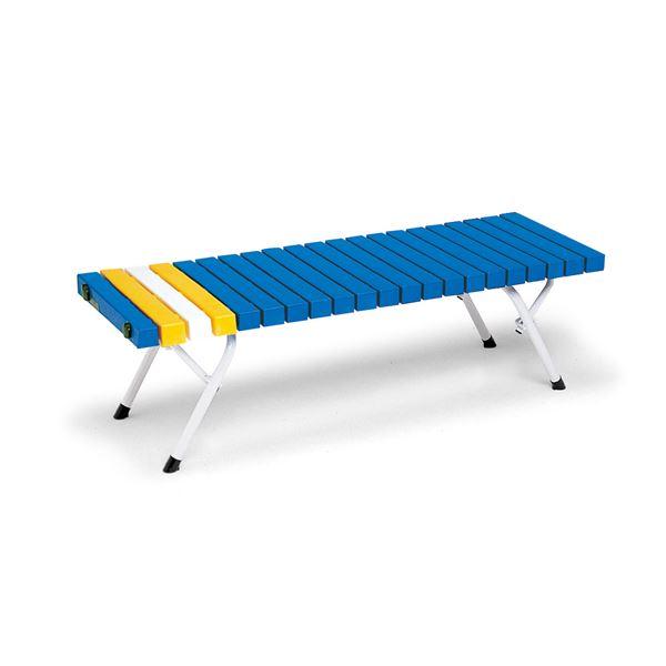 折りたたみホームベンチ/腰掛けベンチチェア 【幅:約125cm】 屋外使用可 ブルー 〔業務用 施設 プール 店舗〕
