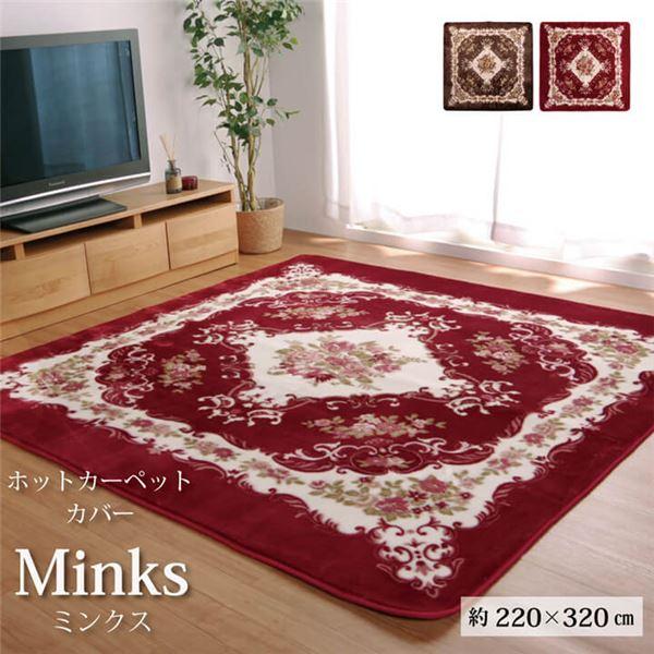クラシック柄 ラグマット/絨毯 【ブラウン 約220×320cm】 長方形 洗える ホットカーペット 床暖房可 〔リビング〕