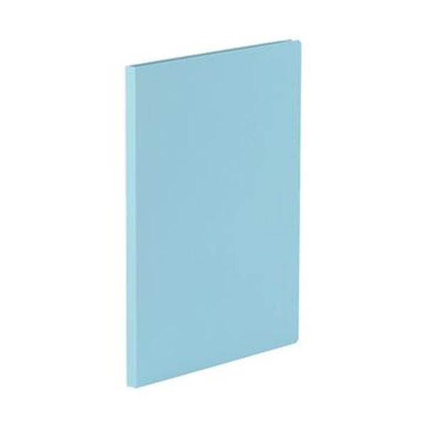 (まとめ)TANOSEE 貼り表紙クリアファイルA4タテ 10ポケット アイスランドブルー 1冊【×50セット】