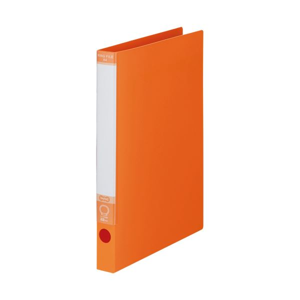 TANOSEE ワンタッチ開閉Oリングファイル A4タテ 2穴 170枚収容 背幅30mm オレンジ 1セット(30冊)