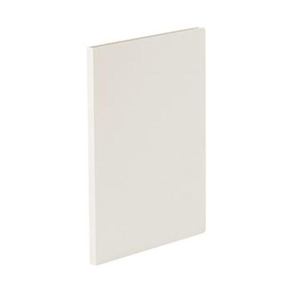 (まとめ)TANOSEE 貼り表紙クリアファイルA4タテ 10ポケット フロスティホワイト 1冊【×50セット】
