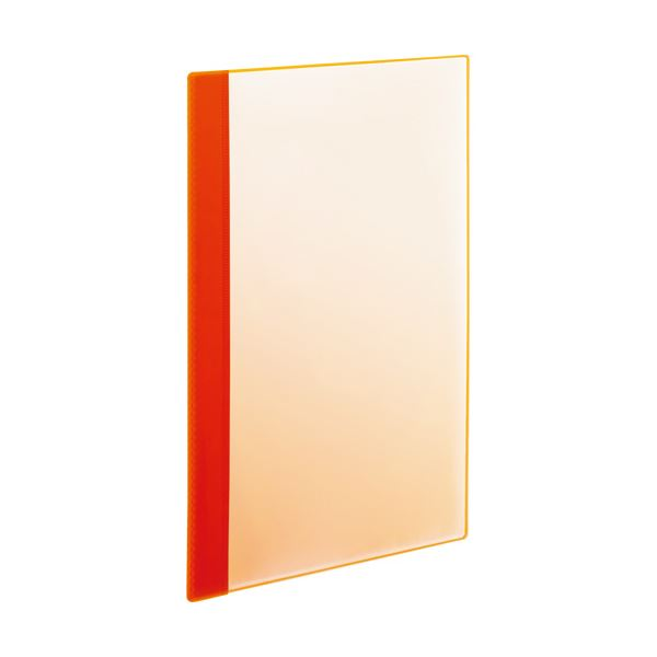 (まとめ) TANOSEE薄型クリアブック(角まる) A4タテ 5ポケット オレンジ 1セット(50冊:5冊×10パック) 【×5セット】
