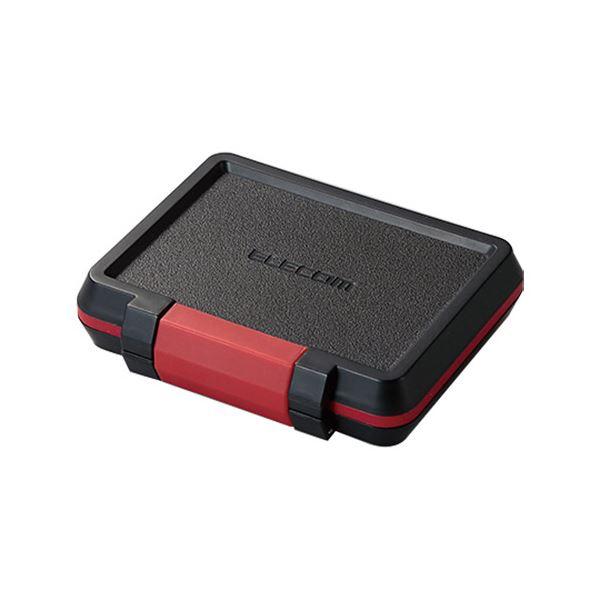 (まとめ) エレコムSD/microSDカードケース 耐衝撃 ブラック CMC-SDCHD01BK 1個 【×10セット】