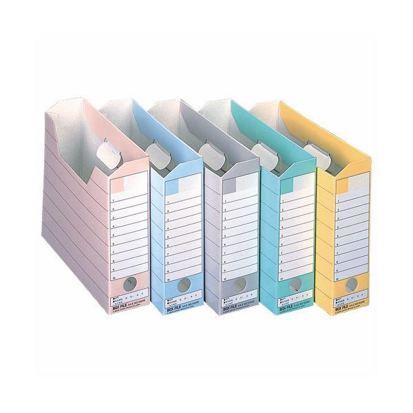 (まとめ) ライオン事務器 ボックスファイルダンボール製 A4ヨコ 背幅78mm 5色 CS-1080E 1パック(5冊:各色1冊) 【×10セット】
