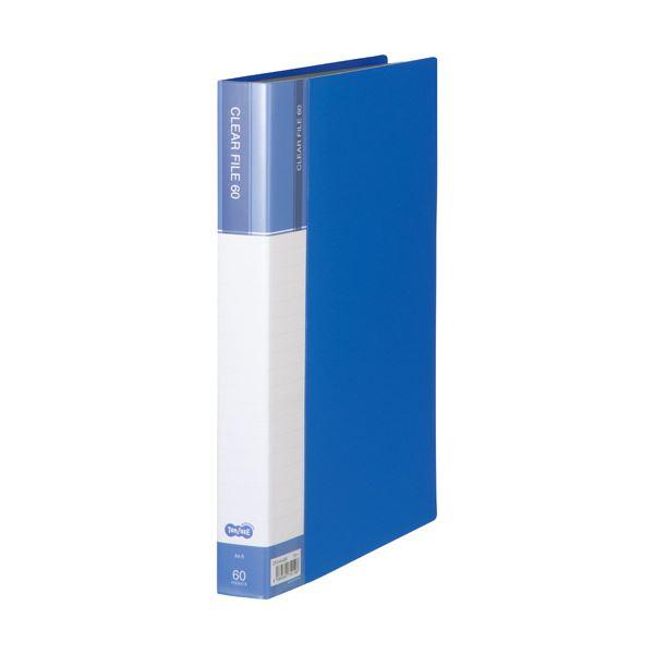 (まとめ) TANOSEEクリヤーファイル(台紙入) A4タテ 60ポケット 背幅34mm ブルー 1セット(6冊) 【×5セット】