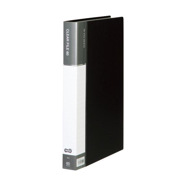 (まとめ) TANOSEEクリヤーファイル(台紙入) A4タテ 60ポケット 背幅34mm ダークグレー 1セット(6冊) 【×5セット】