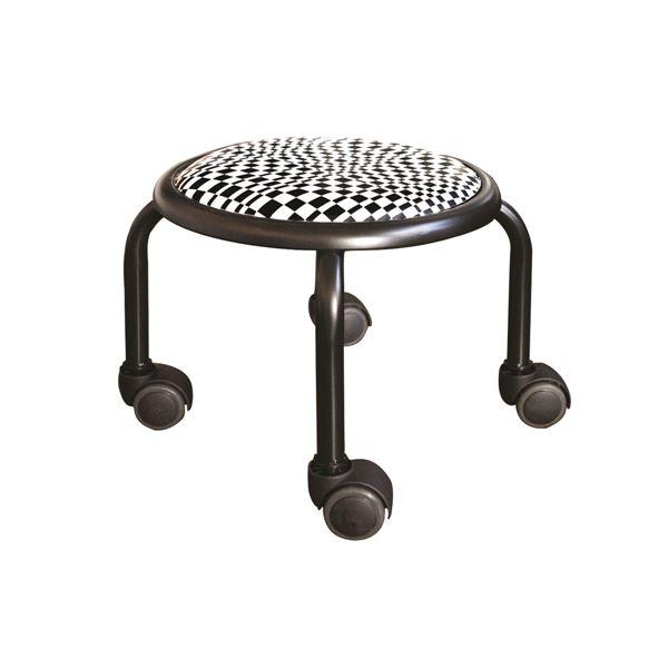 スタッキングチェア/丸椅子 【同色4脚セット モザイクチェック×ブラック】 幅32cm 日本製 『ローキャスター ボン アート』【代引不可】