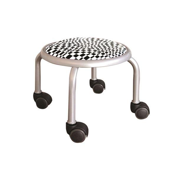 スタッキングチェア/丸椅子 【同色4脚セット モザイクチェック×シルバー】 幅32cm 日本製 『ローキャスター ボン アート』【代引不可】