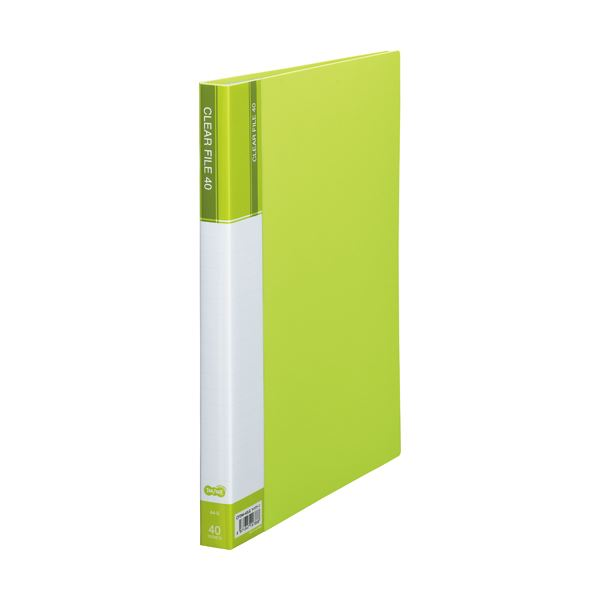 (まとめ) TANOSEE クリヤーファイル(台紙入) A4タテ 40ポケット 背幅23mm ライトグリーン 1セット(8冊) 【×5セット】