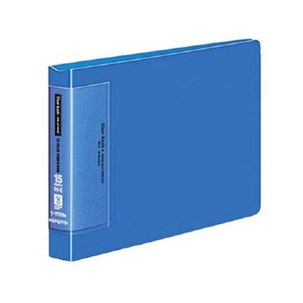 (まとめ)コクヨ クリヤーブック(ウェーブカットポケット・替紙式)B6ヨコ 13穴 15ポケット付属 背幅27mm 青 ラ-T728B 1セット(4冊)【×3セット】