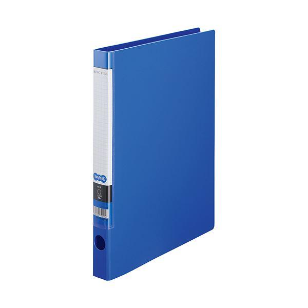 (まとめ) TANOSEE OリングファイルA4タテ 2穴 150枚収容 背幅32mm ブルー 1セット(10冊) 【×10セット】