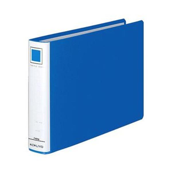 (まとめ)コクヨ チューブファイル(エコ)片開きB5ヨコ 300枚収容 30mmとじ 背幅45mm 青 フ-E636B 1セット(4冊)【×3セット】