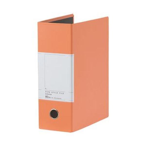(まとめ)TANOSEE 両開きパイプ式ファイルSt A4タテ 800枚収容 80mmとじ 背幅107mm オレンジ 1冊【×20セット】