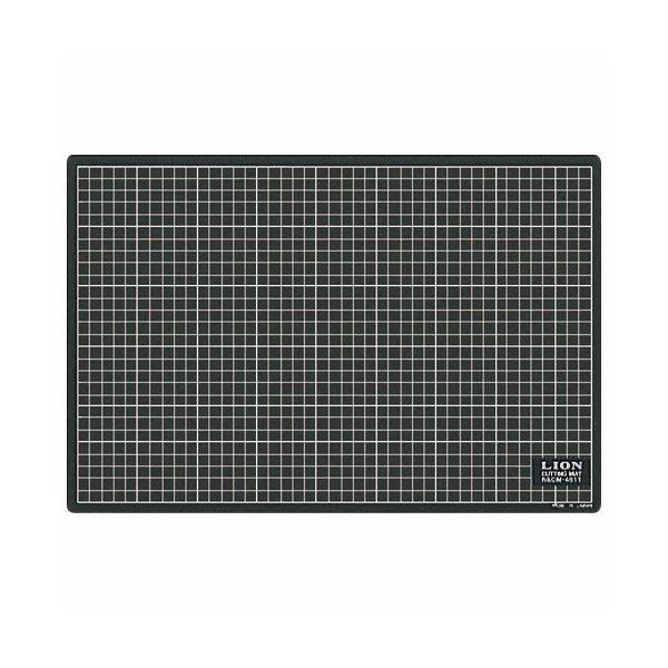 (まとめ) ライオン事務器 カッティングマット再生PVC製 両面使用 450×300×3mm 黒/黒 CM-4511 1枚 【×10セット】