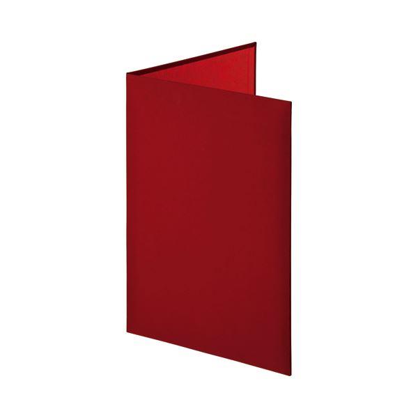 (まとめ)証書ファイル 布クロス 二つ折り 透明コーナー貼り付けタイプ A4 赤 1冊【×3セット】