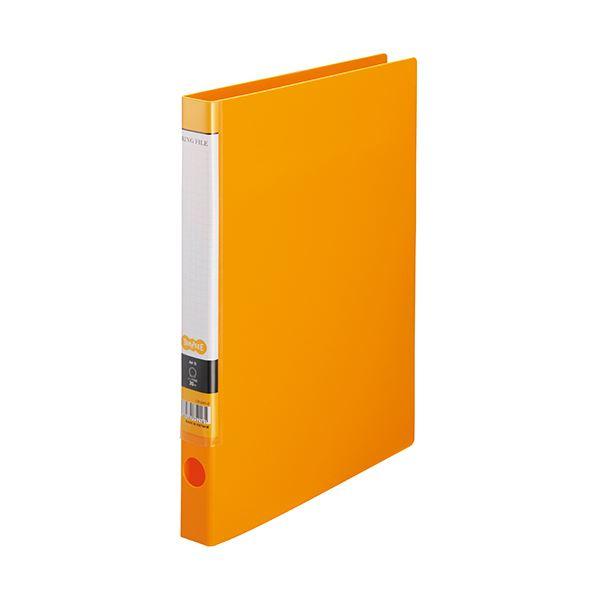 (まとめ) TANOSEE OリングファイルA4タテ 2穴 150枚収容 背幅32mm オレンジ 1セット(10冊) 【×10セット】
