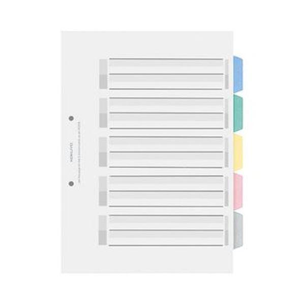 (まとめ)コクヨ カラー仕切カード(PP)(ファイル用・5山見出し)A4タテ 2穴 5色+扉紙 シキ-P30 1セット(25組:5組×5パック)【×3セット】