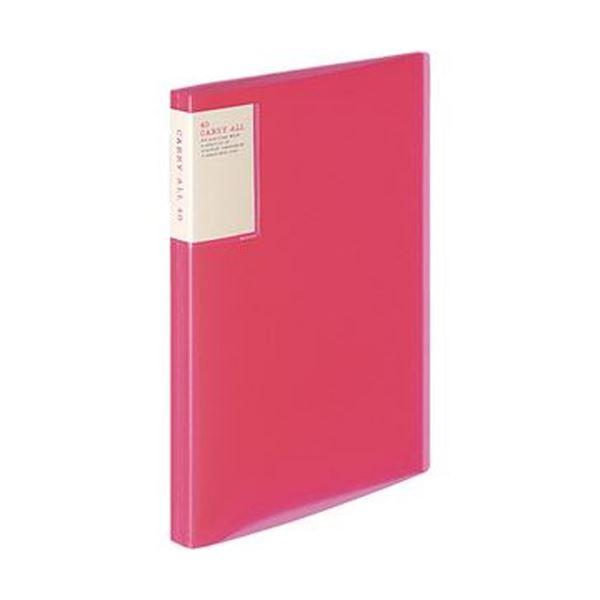 (まとめ)コクヨ クリヤーブック(キャリーオール)固定式・背ポケット A4タテ 40ポケット 背幅22mm ピンク ラ-5003P 1セット(6冊)【×3セット】