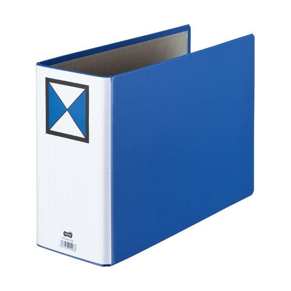 (まとめ)両開きパイプ式ファイル A4-E 100mmとじ 青 10冊【×3セット】